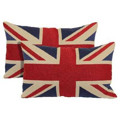 "Union Jack 2-Pack Toss Pillows - Red -13""x21""-Insert - Target"