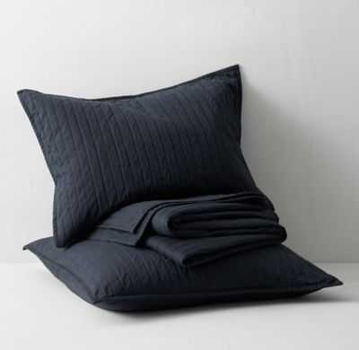 Channel-Stitched Sueded Canvas Quilt -Navy-Full/Queen - RH Teen