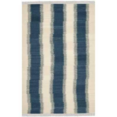 Navajo Kilim Blue & Ivory Area Rug - 6' x 9' - Wayfair