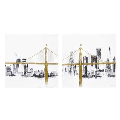 INK+IVY Bridge and Skyline Metallic Foil Canvas 2-piece Set Unframed 4 inches high x 24 inches wide - Overstock