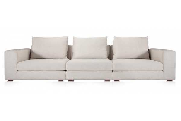 Wilson 3 Seater Fabric Modern Sofa Cream - Modani