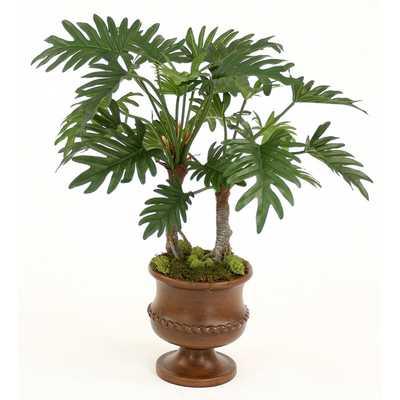 Silk Philodendron Selloum Floor Plant in Urn - Wayfair