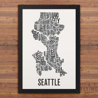 SEATTLE Neighborhood Typography City Map Print - Framed - Etsy