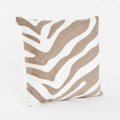 "Zebra Design Throw Pillow - 17"" - Taupe - Overstock"