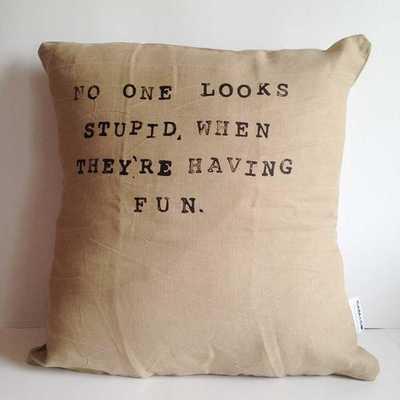 When Having Fun - Handmade Linen Pillow Cover - Tressle