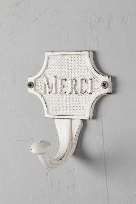 French Etiquette Hook- Antique White - Anthropologie