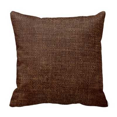"Burlap Simple Chocolate Brown Throw Pillow - 16"" x 16"" - synthetic-filled insert - zazzle.com"