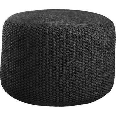 Criss knit black pouf - CB2