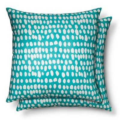 2 Pack Throw Pillow Dots- 18 L x 18 W- Lagoon Turquoise- Polyester fill insert - Target