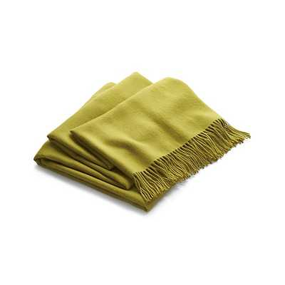 Lima Alpaca Olive Green Throw Blanket - Crate and Barrel