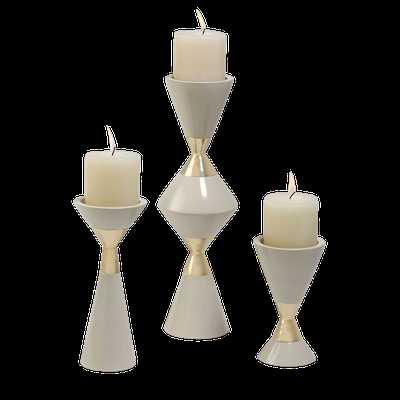 Hourglass Pillar Candleholders – Set of 3 - Domino