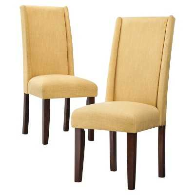 Charlie Modern Wingback Dining Chair (Set of 2) Yellow - Target