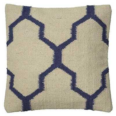 "MOROCCAN KILIM PILLOW - Blue, 18""-Polyester insert - Home Decorators"