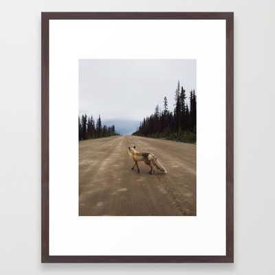 "Road Fox - 20"" X 26"" - WALNUT Frame - Society6"