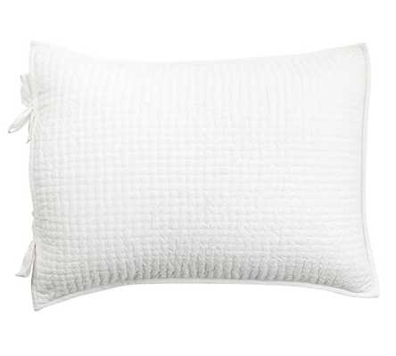 Pick-Stitch Handcrafted Sham, Standard, White - Pottery Barn