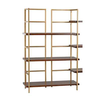 Sterling Balart Gold and Walnut Shelf Unit - Overstock