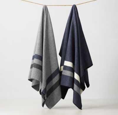 Faribault Cadet Wool Blanket-Navy-Full/Queen - RH Teen