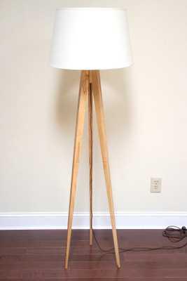 Tripod Floor Lamp Slim - Wormy Maple - Drop Cloth Cord - Etsy