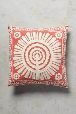 "Full Sun Pillow - Coral  - 18""x18"" - With Insert - Anthropologie"