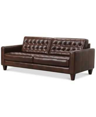 Bray Button Tufted Leather Sofa - Macys