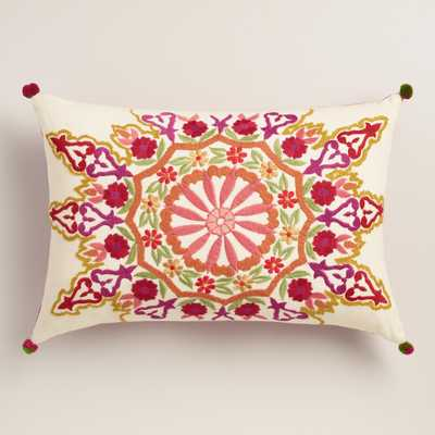 "Medallion Embroidered Lumbar Pillow - 14""W x 20""L - Polyester filling - World Market/Cost Plus"