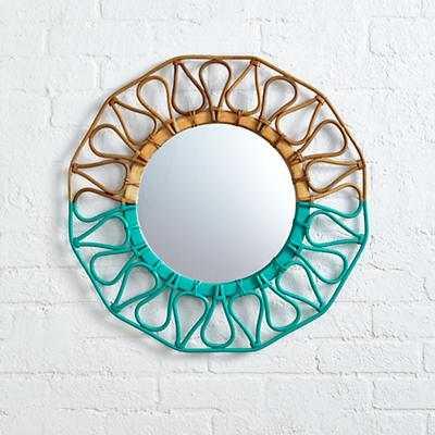 Sunrise Rattan Mirror (Teal) - Land of Nod