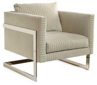 Geneva Stripe Chair, Smoke Velvet - One Kings Lane