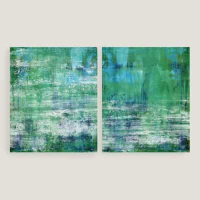 Green and Blue Wall Art Set of 2 - 20x24 - Unframed - World Market/Cost Plus