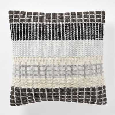 "Margo Selby Woven Block Pillow Cover -20""-Slate-Insert Sold Separately - West Elm"