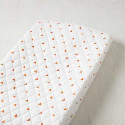 Orange Triangle Little Prints Changing Pad Cover - Land of Nod