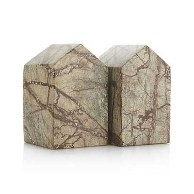 Set of 2 Marble House Bookends - Crate and Barrel