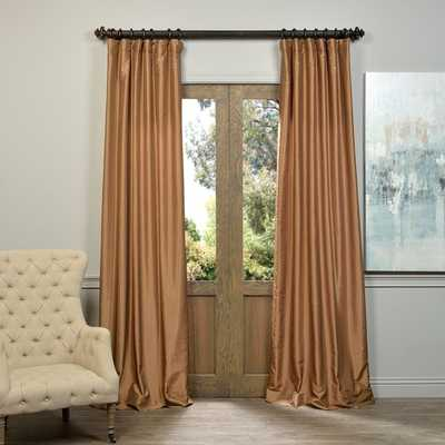 EFF Flax Gold Vintage Faux Textured Dupioni Silk Curtain Panel - Overstock