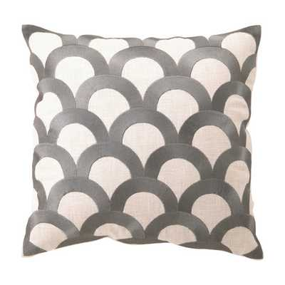 Embroidered Scales Linen Throw Pillow - AllModern