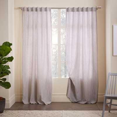 "Striped Belgian Flax Linen Curtain - 84""L x 48""W - West Elm"