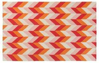 Bali Flat-Weave Rug, Orange/Violet - One Kings Lane