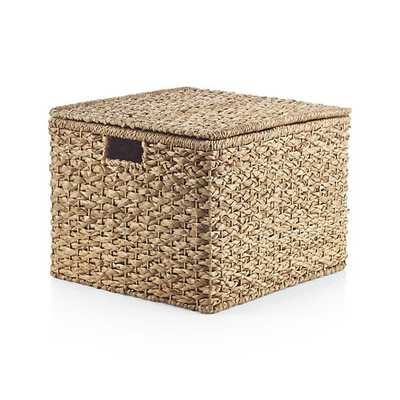 Kelby Large Square Lidded Basket - Crate and Barrel