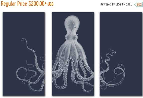 Flash Sale - Octopus Triptych in Navy Blue Large Canvas Print - 54x40 - Etsy