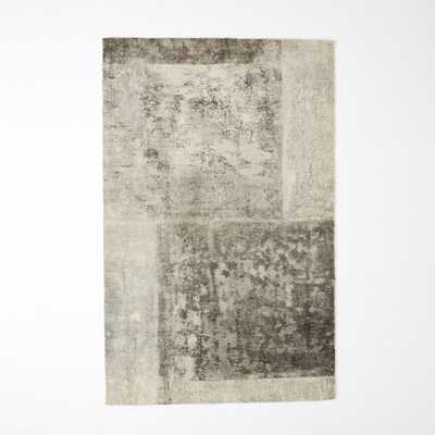 Distressed Rococo Wool 5'x8' Rug - Platinum - West Elm