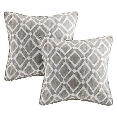 Natalie Printed Square Pillow - 2 Pack- Grey- 20.000L x 20.000W- Polyester fill insert - Target