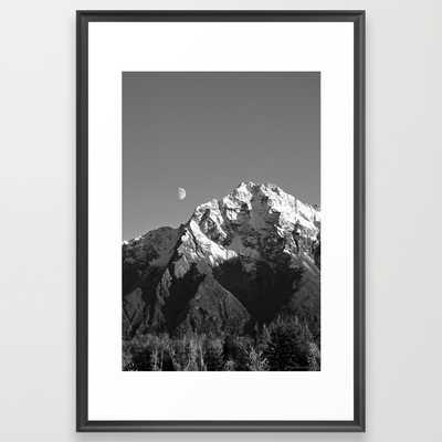 "Moon Over Pioneer Peak B&W - 26"" x 38"" - Framed - Society6"