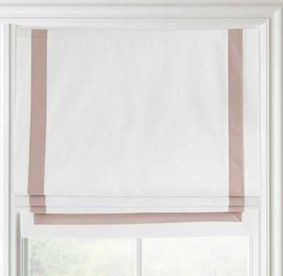 "Appliquéd frame cotton canvas roman shade - Optic White/Petal - 24""W x 64""L - RH"