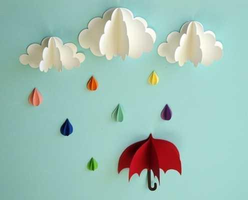 Red Umbrella, Raindrops and Clouds Wall Art - Etsy
