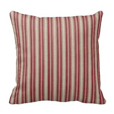 Christmas Striped Throw Pillow - Red/Beige - 16x16 - With Insert - zazzle.com