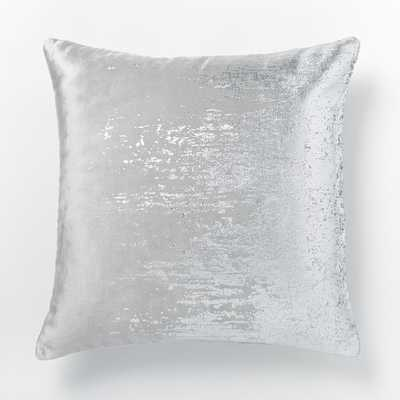 """Faded Metallic Texture Pillow Cover, 18""""x18"""", Silver - Insert Sold Separately - West Elm"""