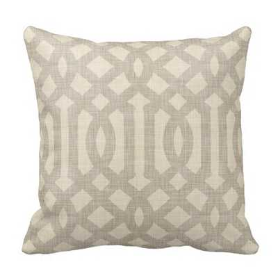 "Linen Beige and Taupe Modern Trellis Throw Pillow- 20"" x 20""- synthetic-filled insert - zazzle.com"
