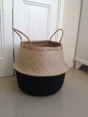 Dipped black seagrass basket storage nursery for Toy of laundry , panier boule - Etsy