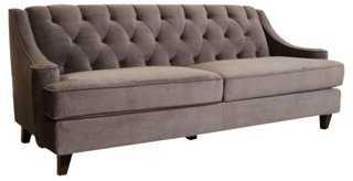 """Addison 84"""" Tufted Velvet Sofa, Gray - One Kings Lane"""
