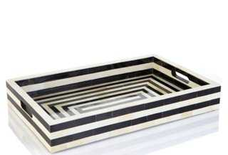 """20"""" Striped Bone and Horn Tray - One Kings Lane"""