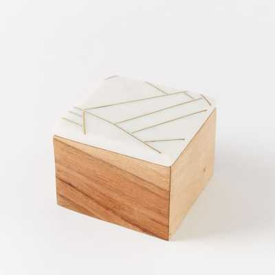 Roar + Rabbit Marble + Wood Jewelry Square Box - West Elm
