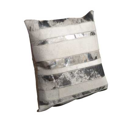 """Natural Leather Throw Pillow - White - 20"""" H x 20"""" W - Polyester/Polyfill - AllModern"""